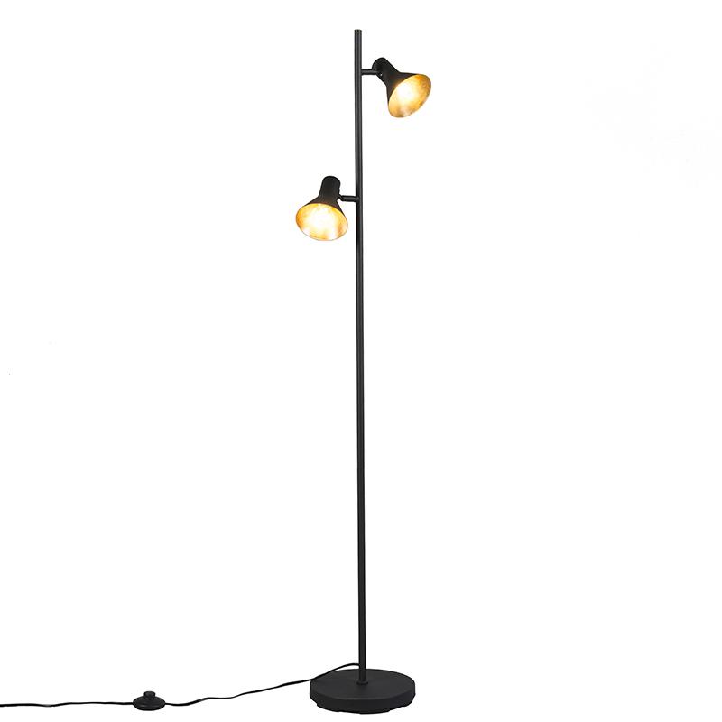 Moderne vloerlamp zwart 2-lichts - Magno