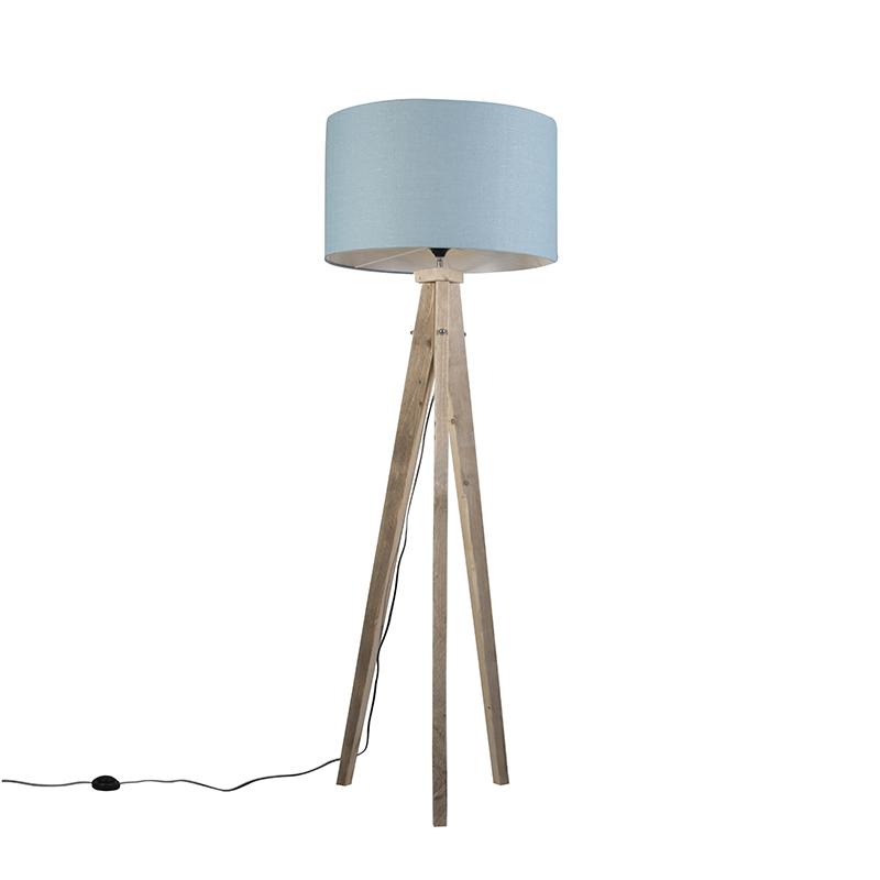 Vloerlamp Karos naturel met kap 55cm zee blauw