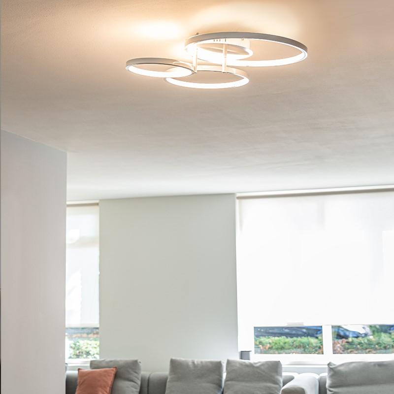 Moderne plafondlamp wit incl. LED en dimmer- Rondas