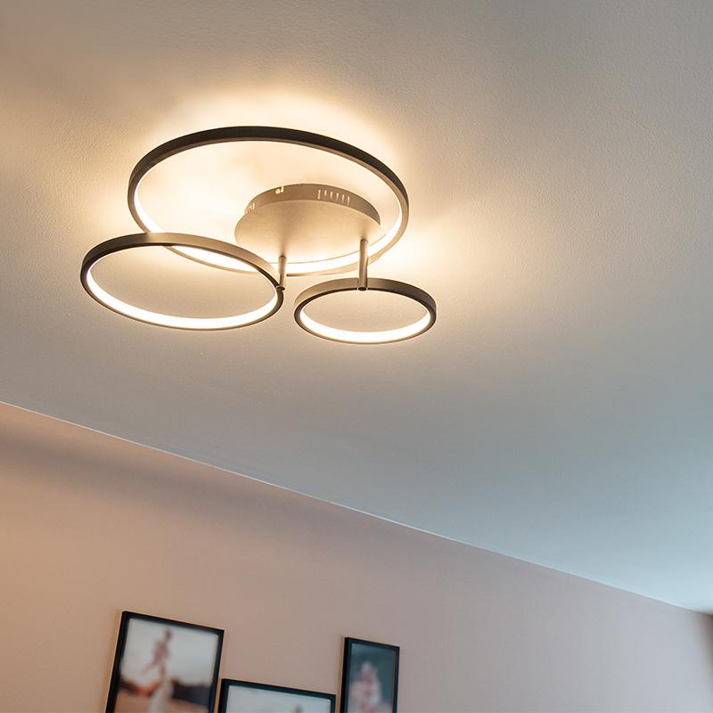 Moderne plafondlamp zwart incl. LED en dimmer- Rondas