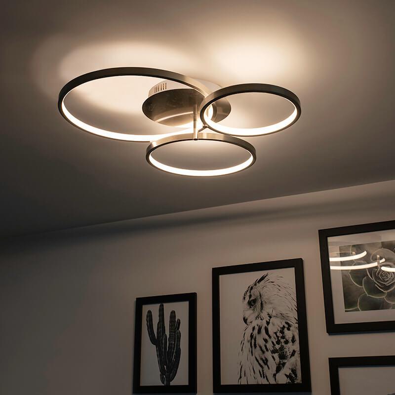 Moderne plafondlamp staal incl. LED en dimmer- Rondas