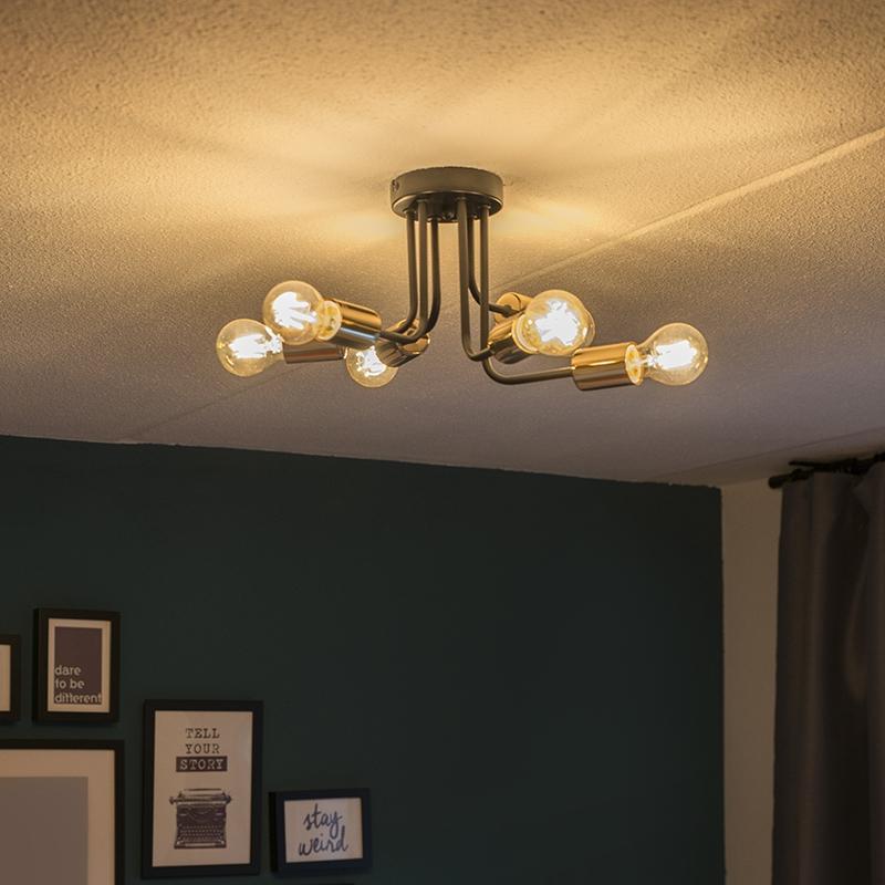 Plafondlamp Cava 6 zwart met goud