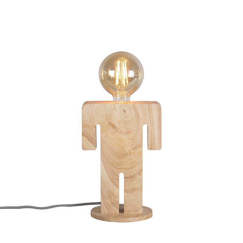 Wiejska lampa stołowa z drewna - Adam