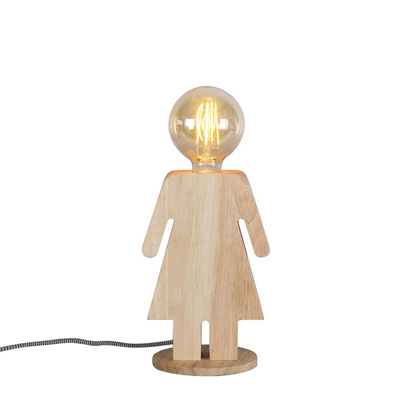 Wiejska lampa stołowa z drewna - Ewa