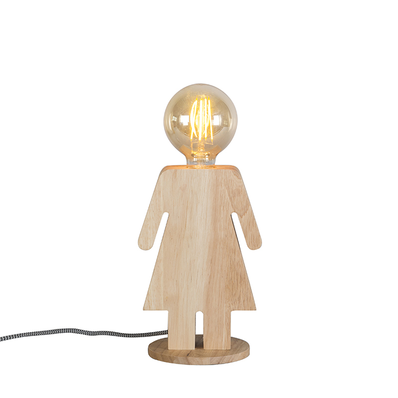 Landelijke tafellamp hout - Eve