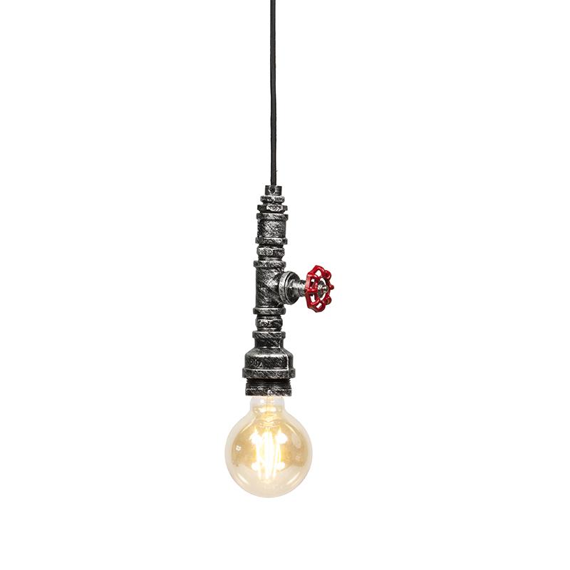 Przemysłowa lampa wisząca czarno srebrna - Obo
