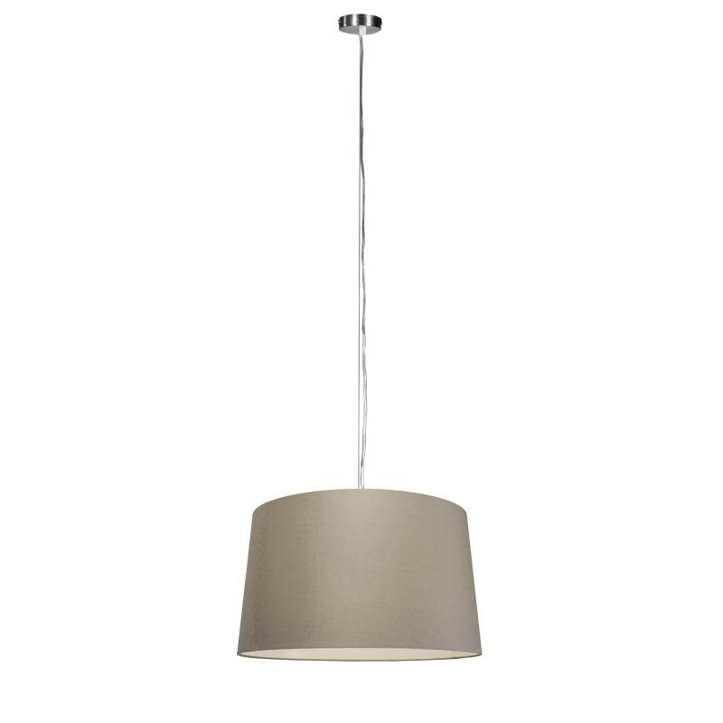 Hanglamp Cappo 1 staal met kap 45cm taupe