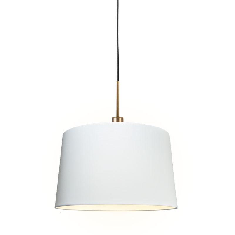 Moderne hanglamp brons met kap 45 cm wit - Combi 1