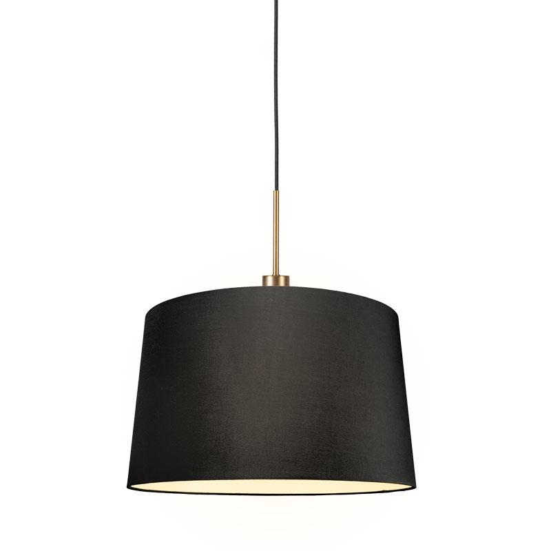 Moderne hanglamp brons met kap 45 cm zwart - Combi 1