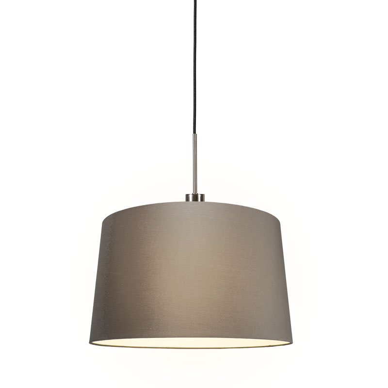 Hanglamp Combi 1 staal met kap 45cm taupe
