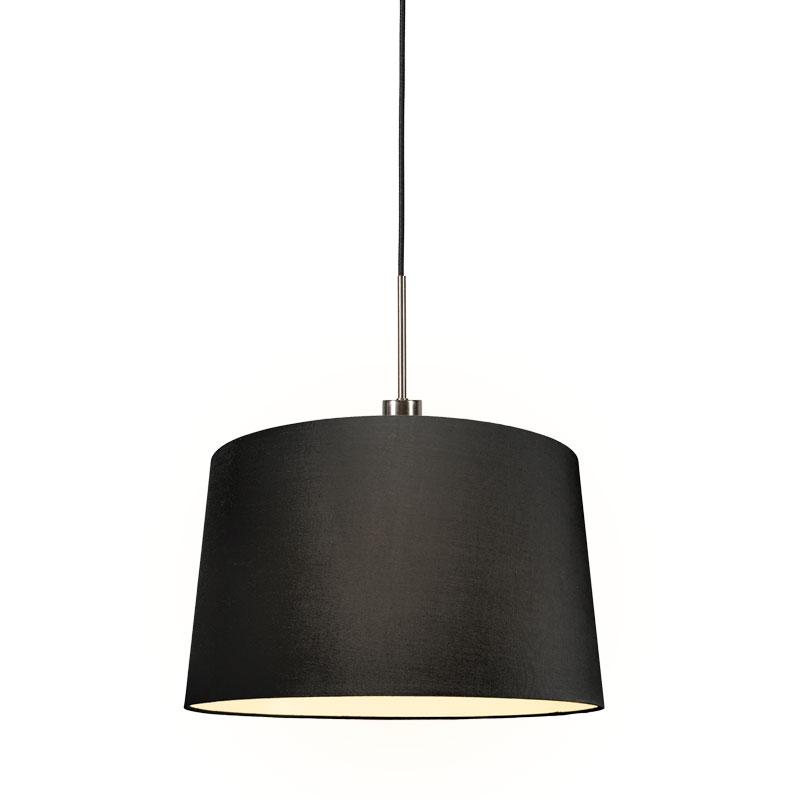 Moderne hanglamp staal met kap 45 cm zwart - Combi 1