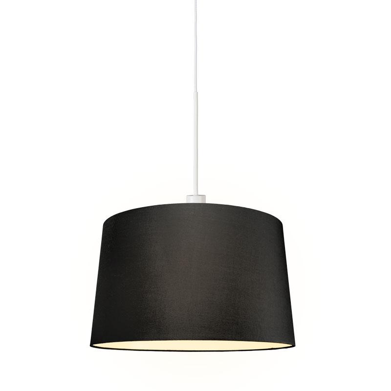 Moderne hanglamp wit met kap 45 cm zwart - Combi 1