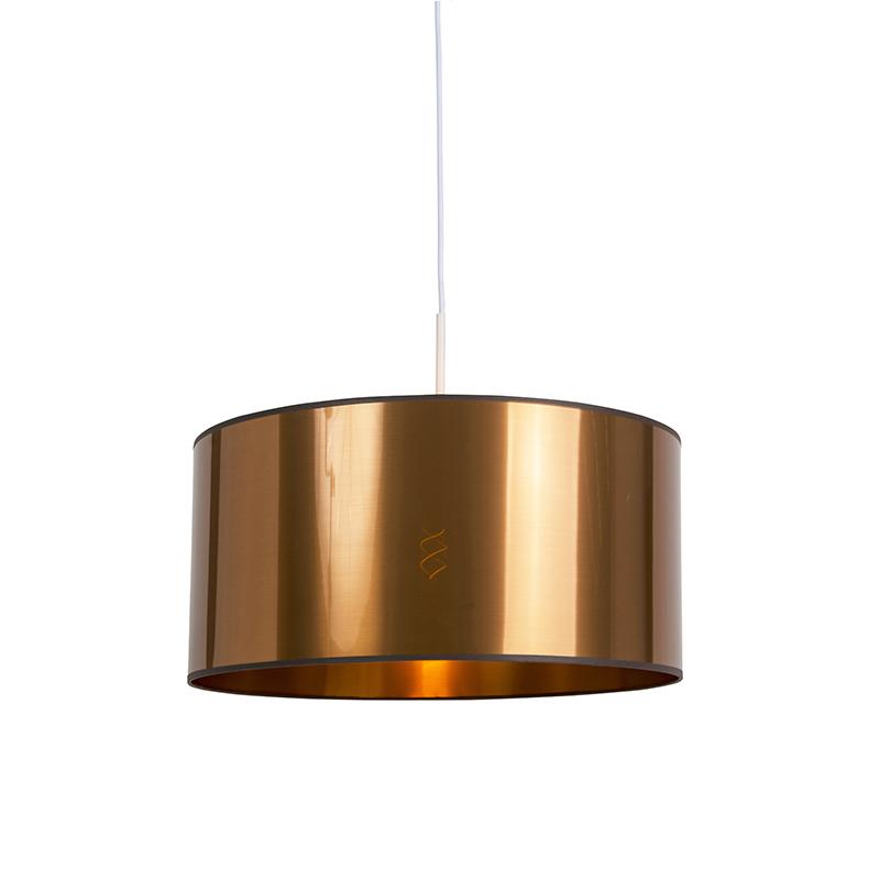 Lampa wisząca biała klosz miedź 50cm - Combi