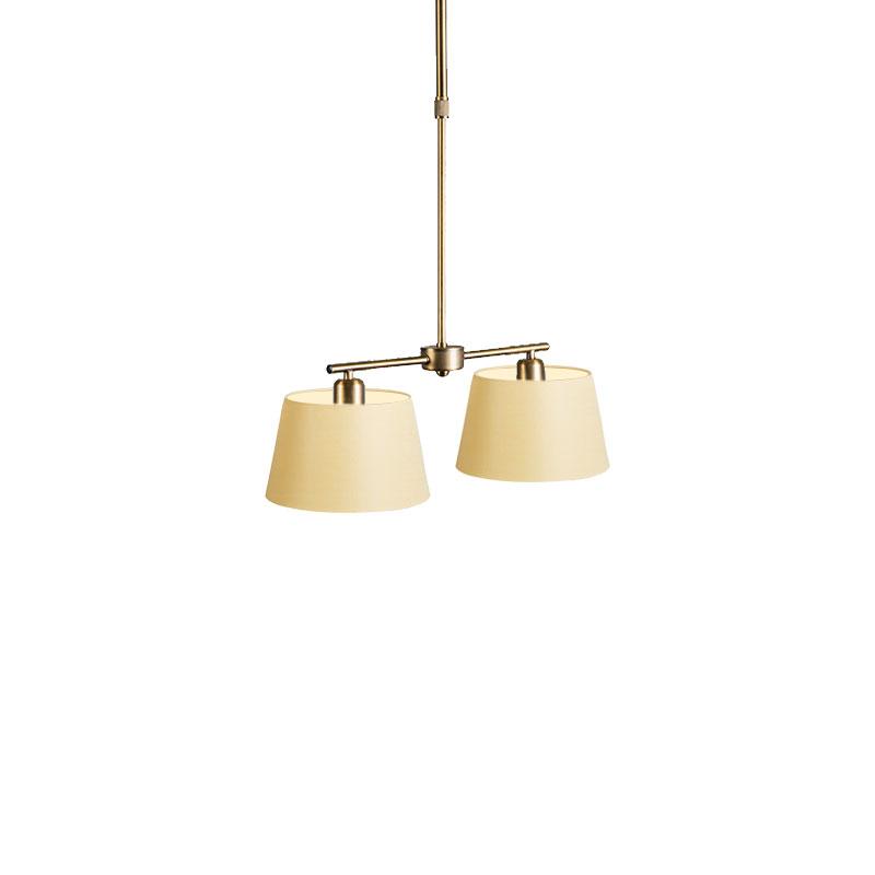Hanglamp Mix 2 brons met kap 20 cm creme