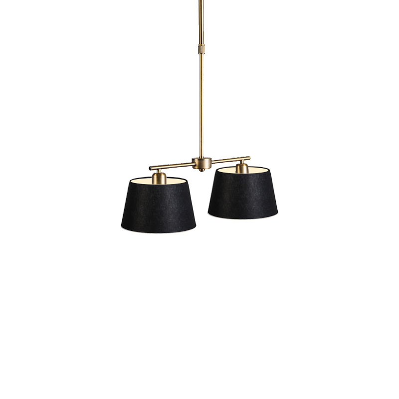 Hanglamp Mix 2 brons met kap 20 cm zwart