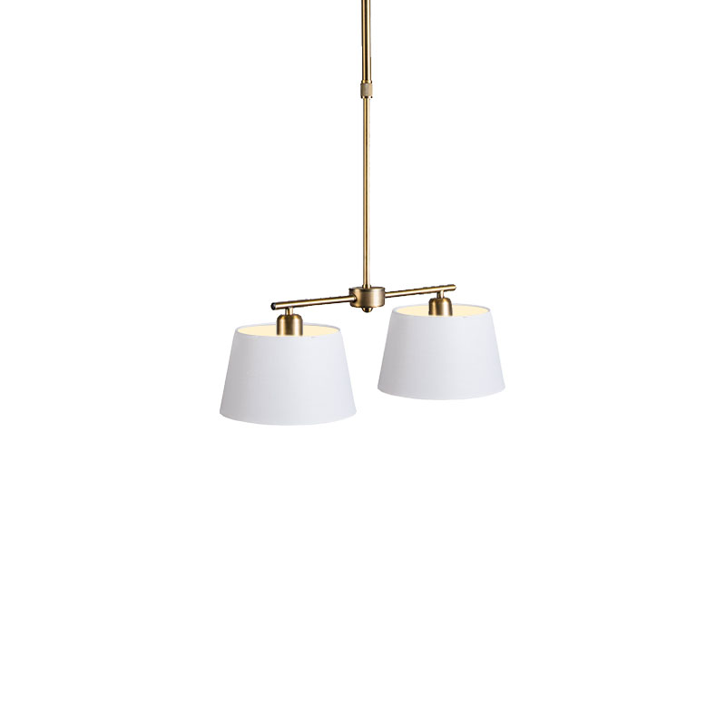 Hanglamp Mix 2 brons met kap 20 cm wit