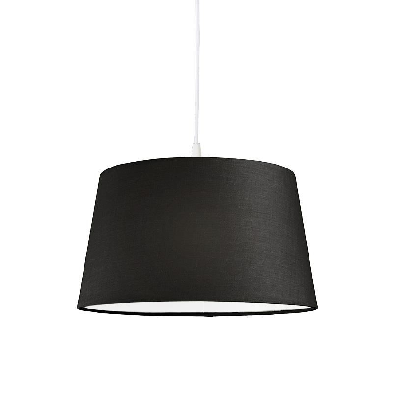 Moderne hanglamp wit met zwarte kap 45 cm - Pendel