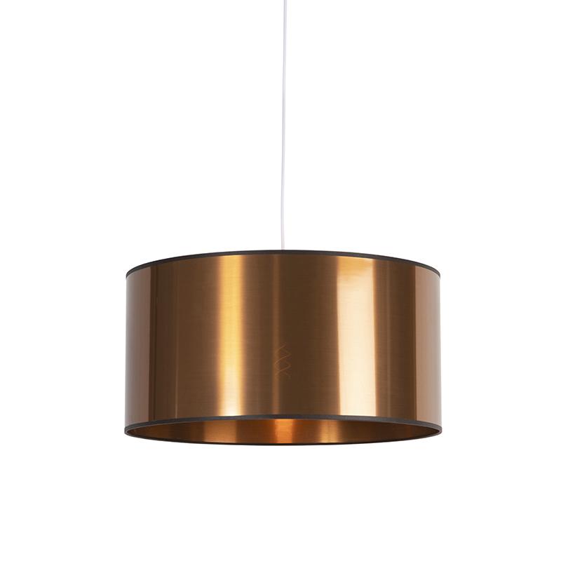 Art Deco hanglamp wit met koperen kap 50 cm - Pendel