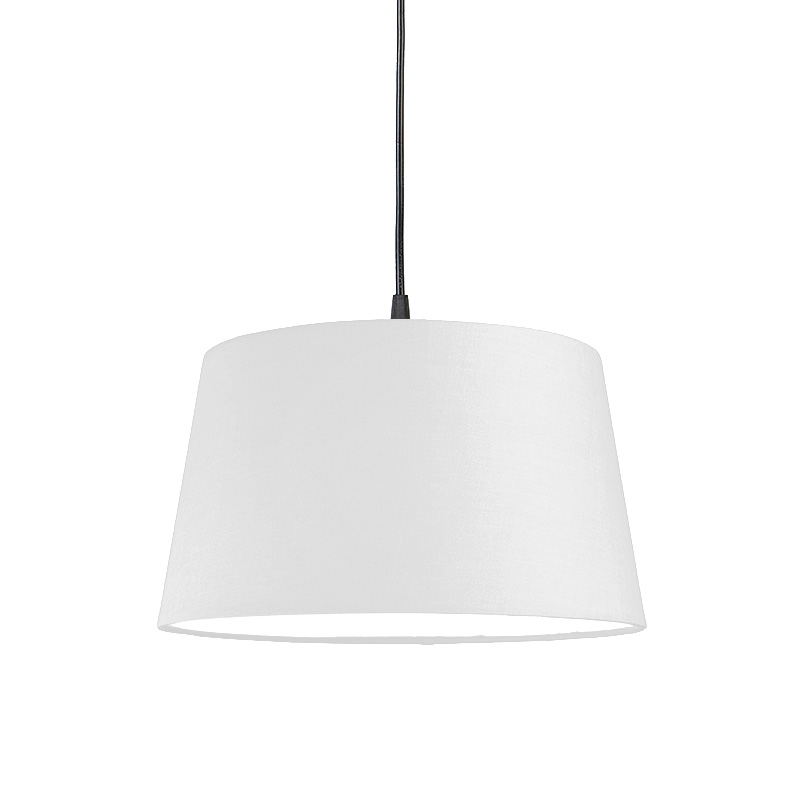 Moderne hanglamp zwart met witte kap 45 cm - Pendel