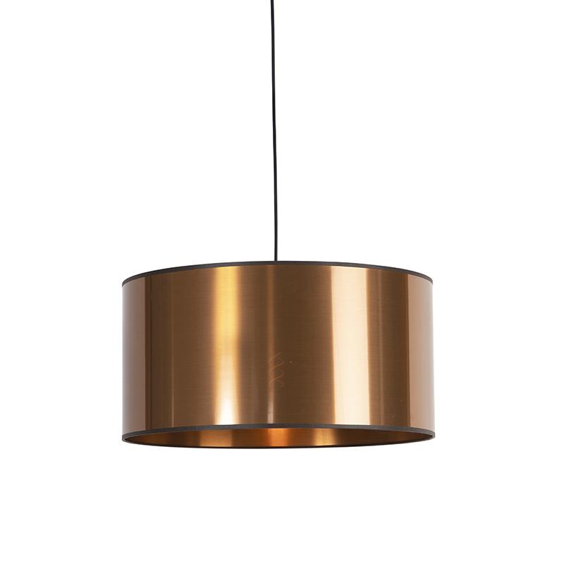Design hanglamp zwart met koperen kap 50 cm - Pendel