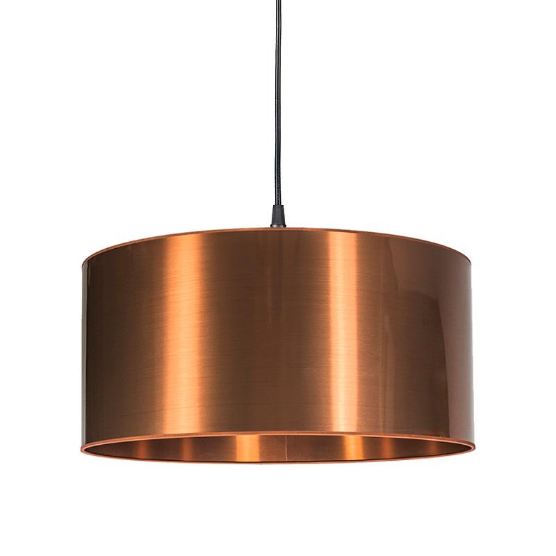 Moderne hanglamp zwart met koperen kap 50cm - Pendel