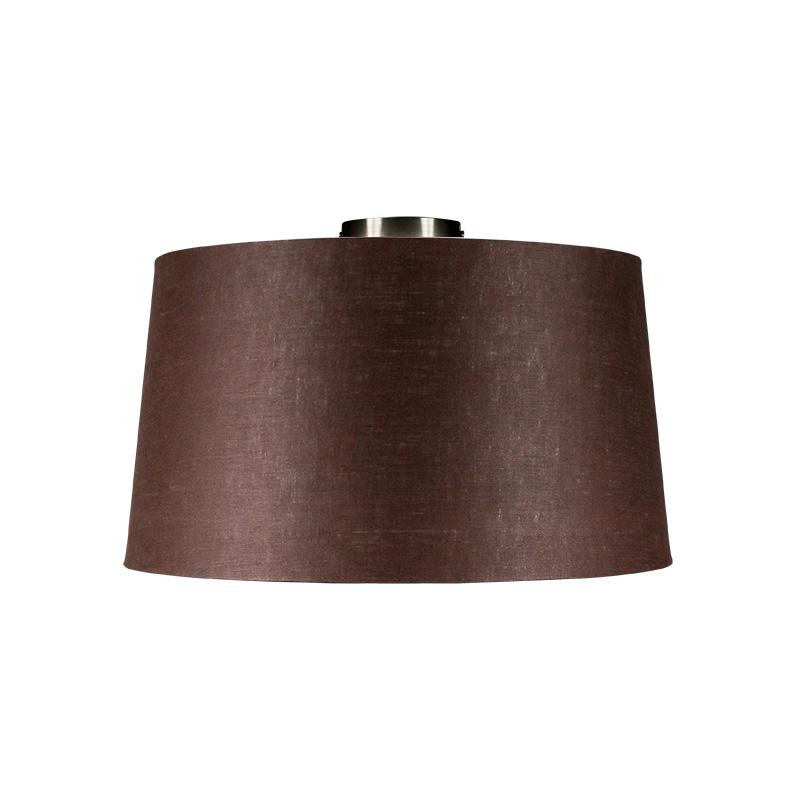 Plafondlamp Combi staal met kap 45cm bruingrijs