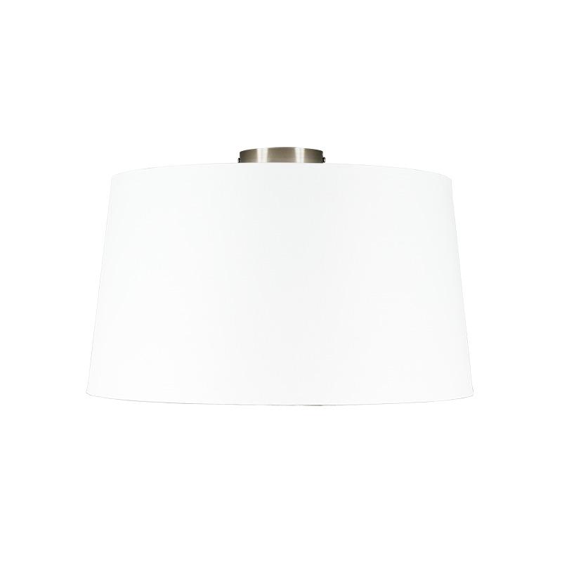 Moderne plafondlamp staal met witte kap 45 cm - Combi