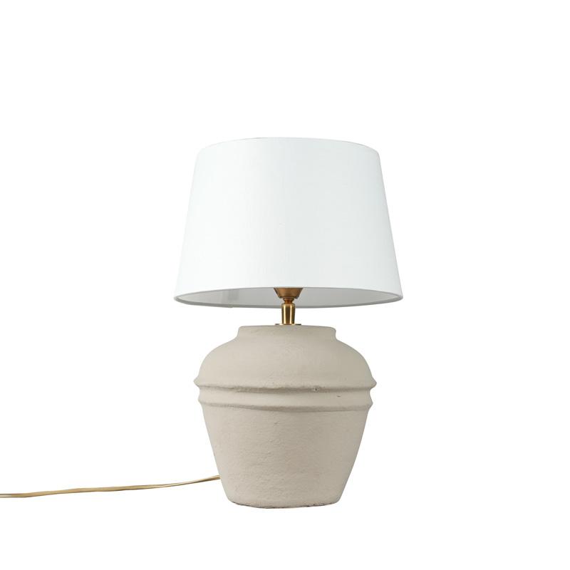 Tafellamp Arta XS grijs met kap 25cm wit