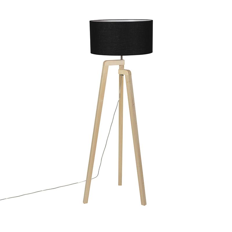 Moderne vloerlamp hout met zwarte kap 45 cm - Puros