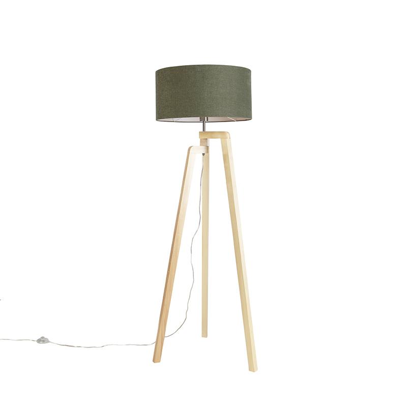 Lampa podłogowa trójnóg drewno klosz zielony 50cm - Puros