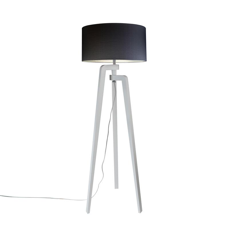 Lampa podłogowa trójnóg biała klosz czarny 50cm - Puros