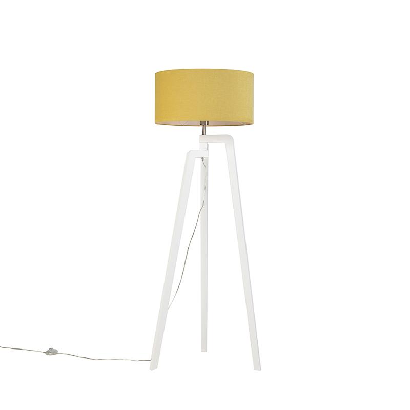 Lampa podłogowa trójnóg biała klosz żółty 50cm - Puros