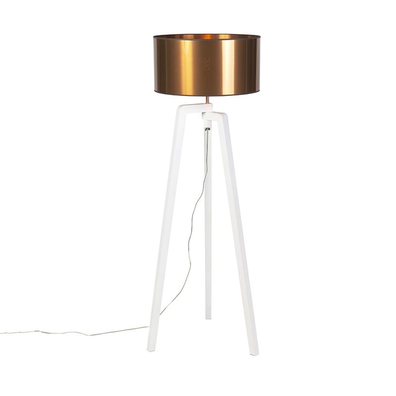 Lampa podłogowa trójnóg biała klosz miedź 50cm - Puros