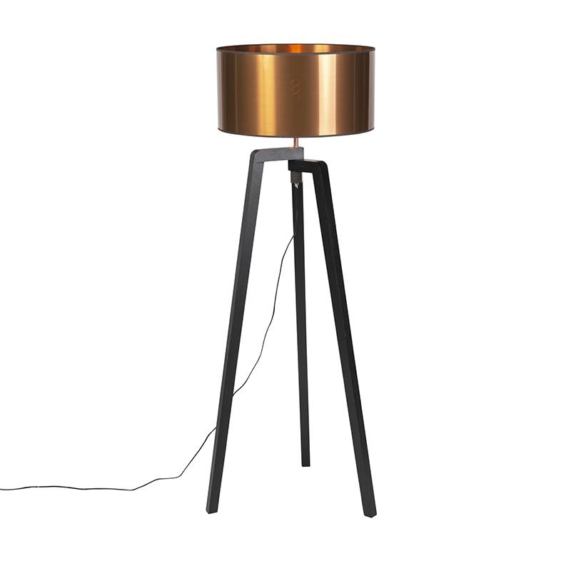 Vloerlamp zwart met koperen kap 50 cm - Puros