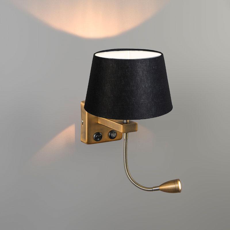 Wandlamp Brescia Combi chroom met kap 20cm zwart