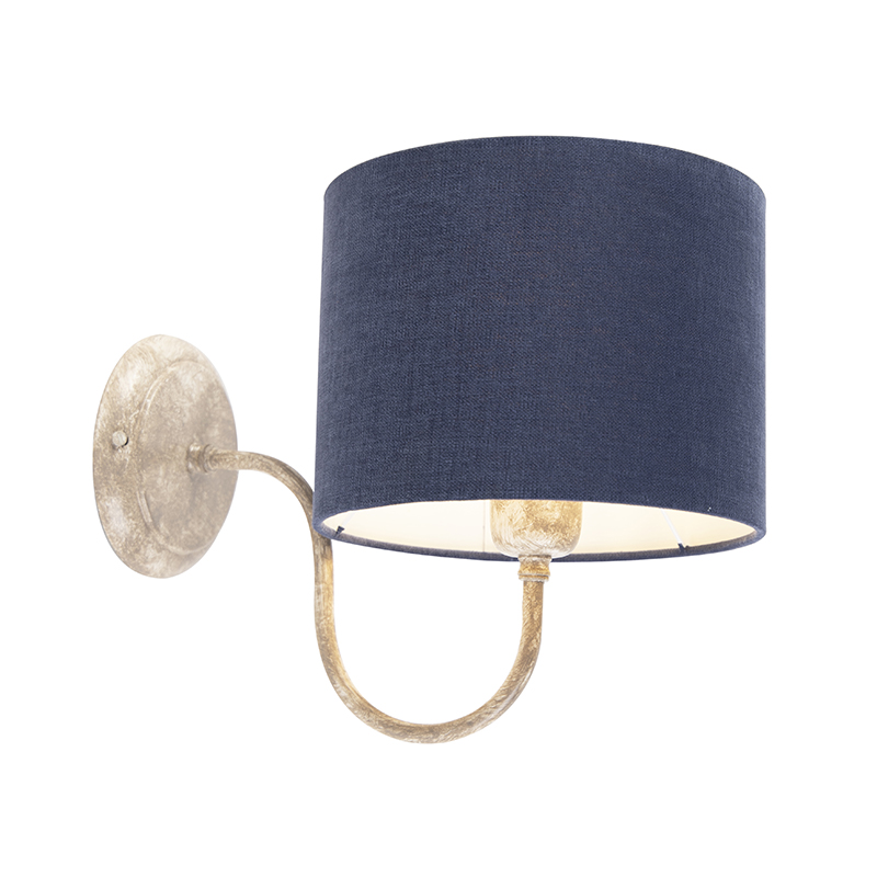Wandlamp cilinder kap 20 cm beige met blauw - Combi Classic