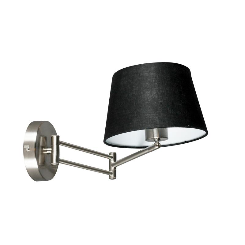 Wandlamp Combi staal verstelbaar met kap 20cm zwart