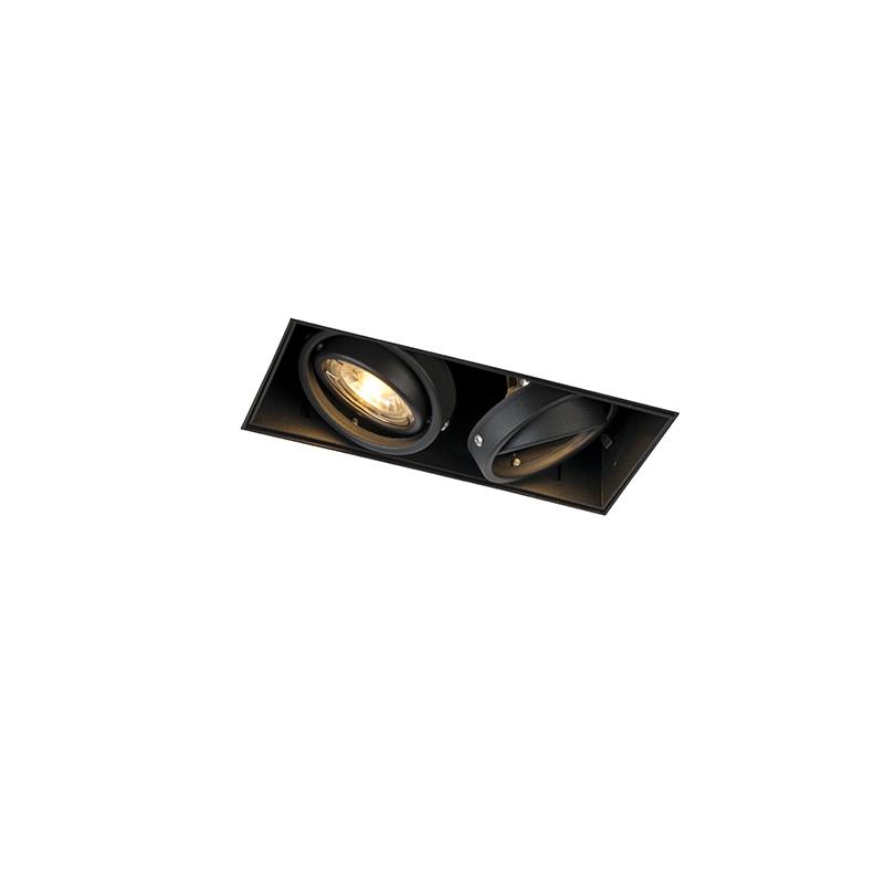 Inbouwspot zwart GU10 draai- en kantelbaar trimless 2-lichts - Oneon