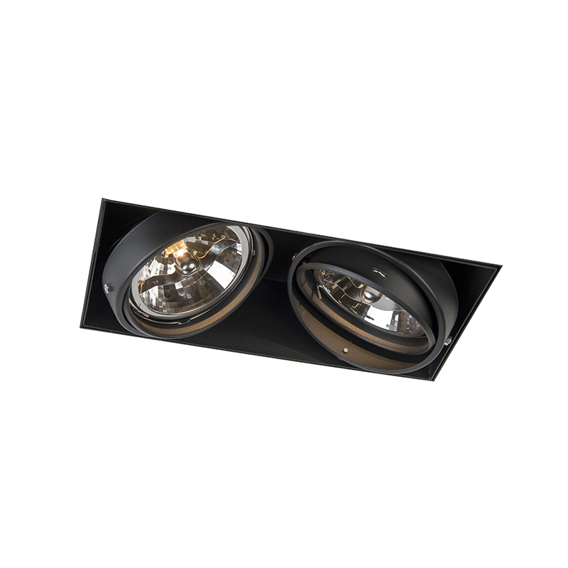 Inbouwspot zwart AR111 draai- en kantelbaar trimless 2-lichts - Oneon