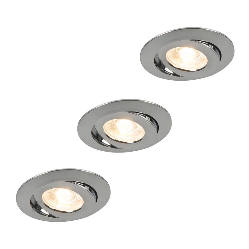 Inbouwspot Relax LED set van 3 chroom
