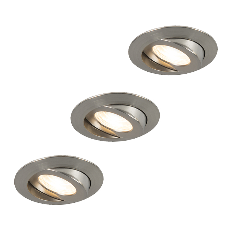 Set van 3 inbouwspots staal incl. LED IP44 - Relax LED