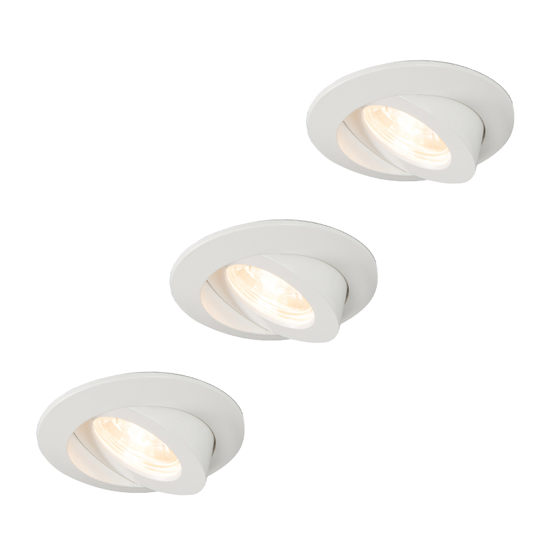 Set van 3 inbouwspots wit incl. LED IP44 - Relax LED