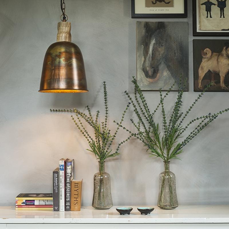 Vintage hanglamp koper met goud - Burn 1