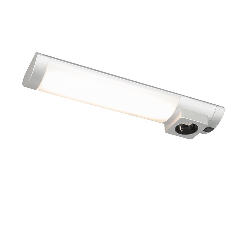 Wandlamp Helge LED zilver met wit incl. stopcontact