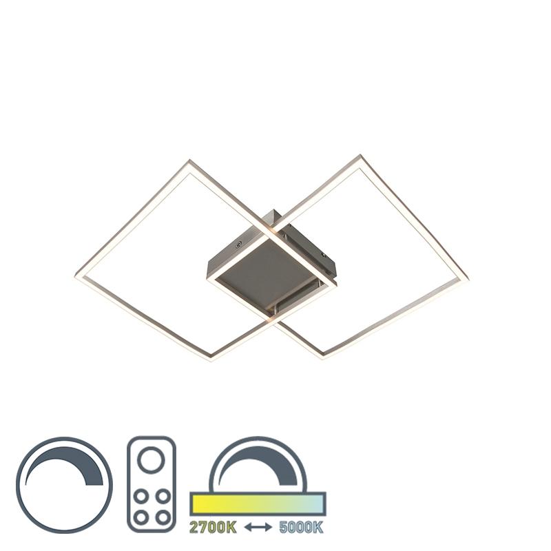 Design Led plafondlamp 2 vierkanten staal met afstandsbediening - Plazas 2