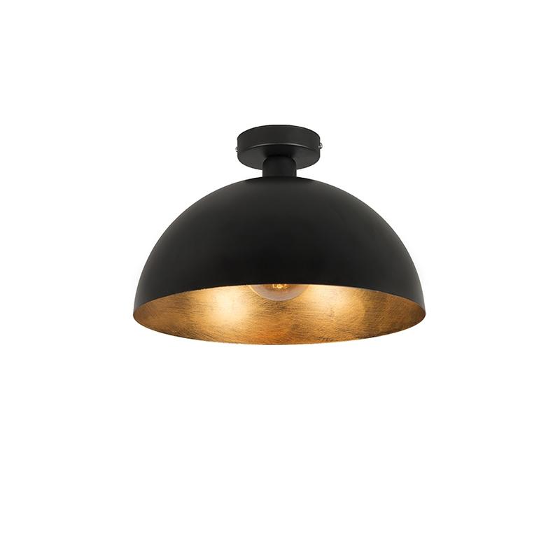 Przemysłowa lampa sufitowa czarna ze złotem 35 cm - Magna