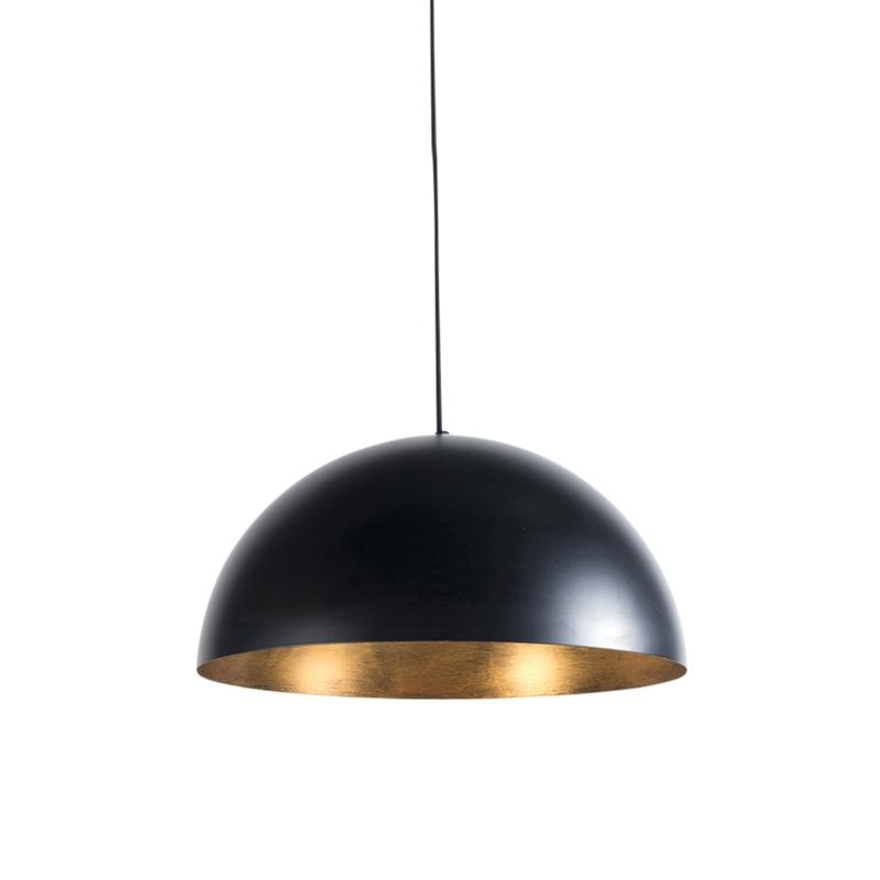 Industrialna lampa wisząca czarna ze złotym wnętrzem 50cm - Magna Eco
