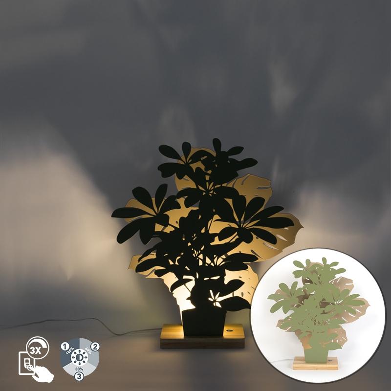 Landelijke tafellamp groen met beige incl. LED - Silhouettes