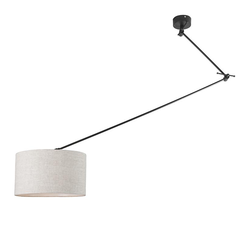 Lampa wisząca regulowana czarna klosz jasnoszary 35cm - Blitz I
