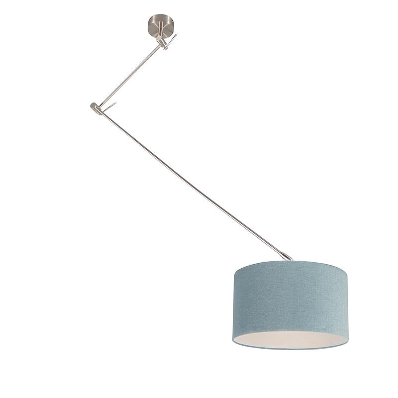 Moderne hanglamp staal met kap mineraal 35 cm - Blitz I